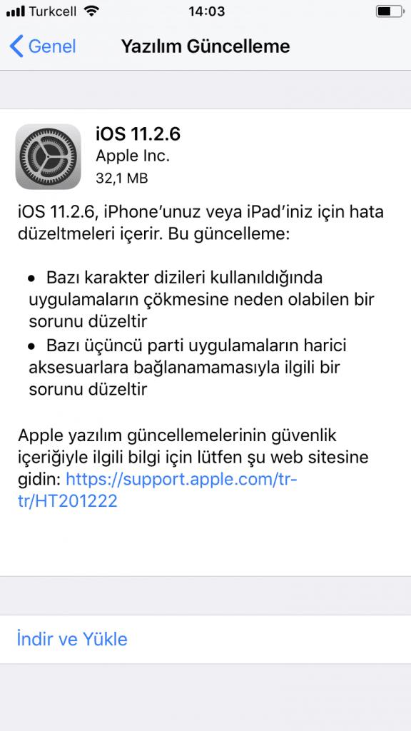 iOS 11.2.6 yazılım güncellemesi yayınlandı!